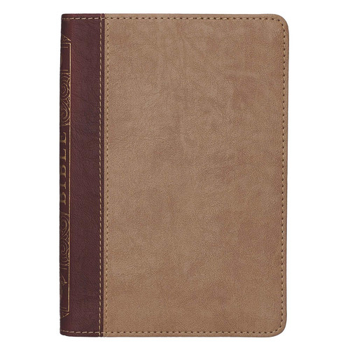 Brown Quarter-bound Faux Leather Compact Bible - KJV