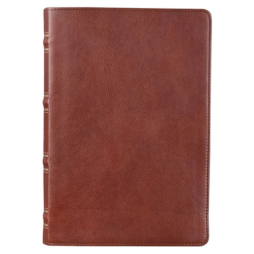 Saddle Tan Full Grain Leather Giant Print Full-size King James Version Bible with Thumb Indexing