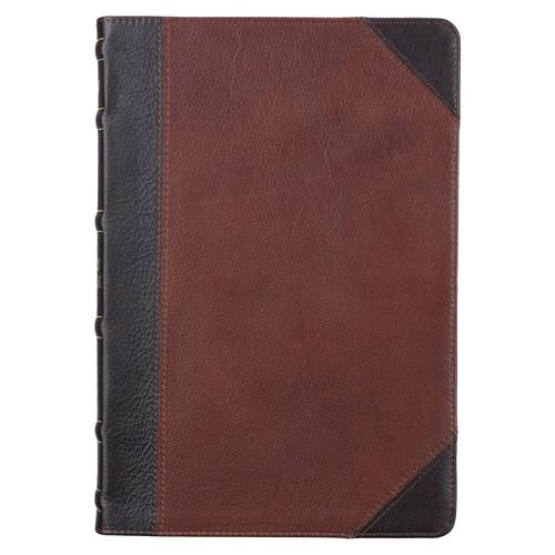 Mahogany and SadleTan Full Grain Leather Large Print Thinline KJV Bible with Thumb Index