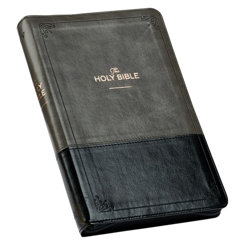 Gray and Black Faux Leather KJV Deluxe Gift Bible with Thumb Index and Zippered Closure