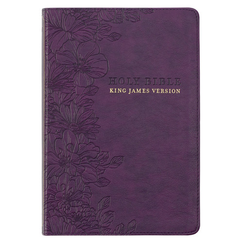 Purple Floral Faux Leather Large Print Thinline King James Version Bible with Thumb Index