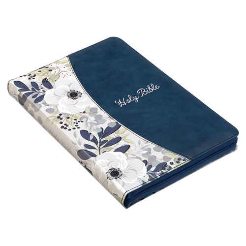 Blue Pearlized Floral Faux Leather Large Print Thinline K J V Bible with Zippered Clouse and Thumb Index