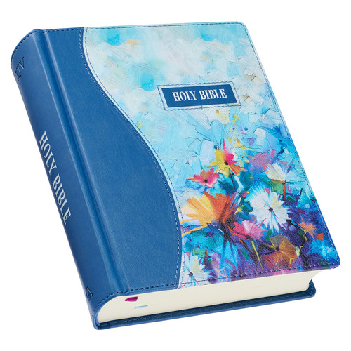 Blue Floral Faux Leather Hardcover Note-taking Bible
