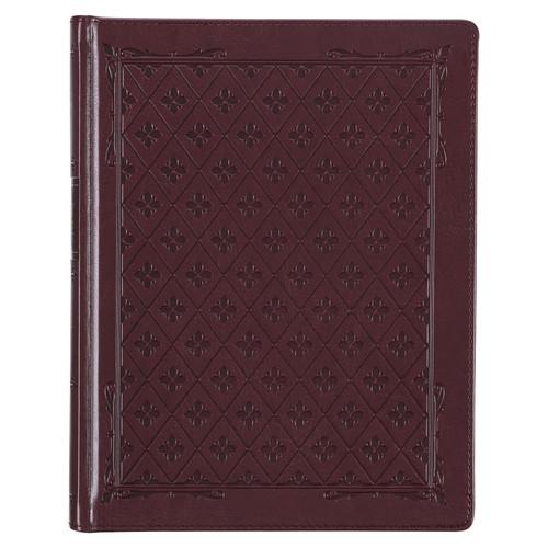 Burgundy Diamond Grid Faux Leather Hardcover Large Print KJV Note-taking Bible