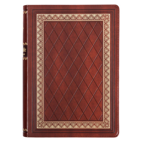 Diamond Grid Saddle Tan Faux Leather King James Version Study Bible with Thumb Index