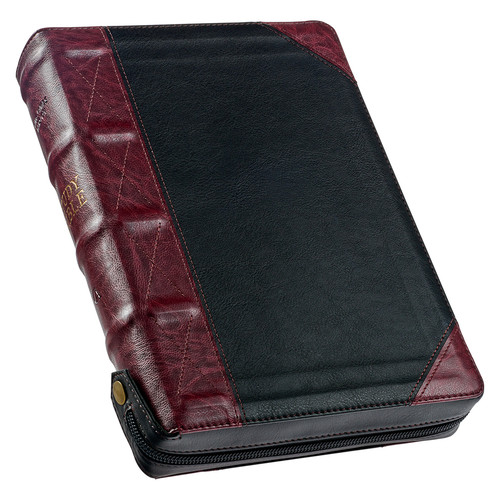 Black and Burgundy Faux Leather KJV Study Bible with Zippered Closure