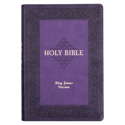 Two-tone Purple Faux Leather Large Print King James Study Bible with Thumb Index