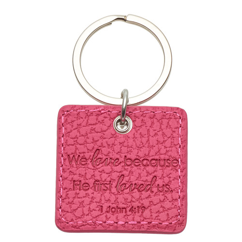 Love Faux Leather Keyring with Flower Charm
