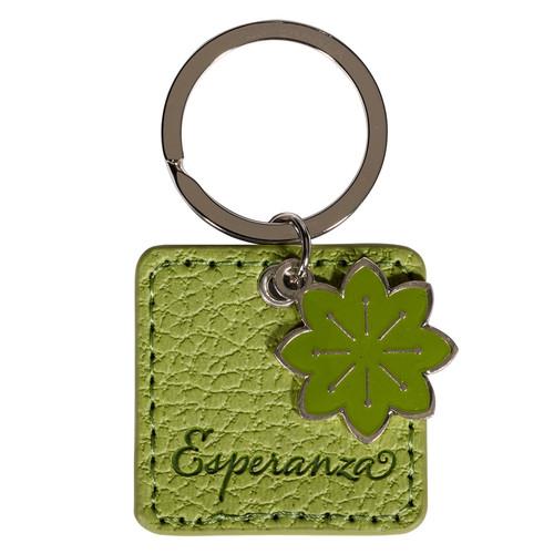 Llavero verde Esperanza en símil cuero, Rom. 15:13