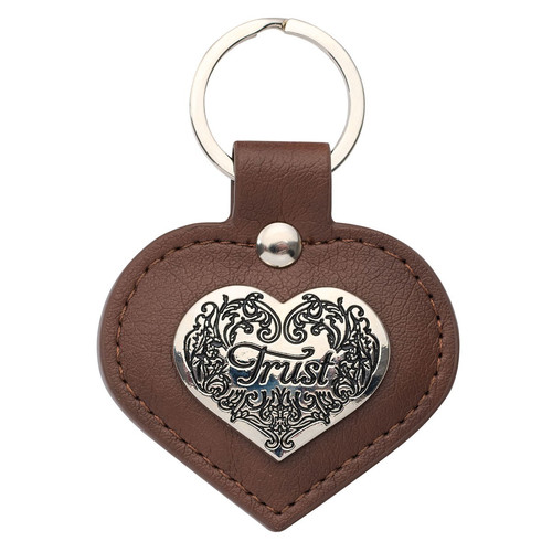 Heart-shaped TRUST Faux Leather Key Ring - Proverbs 3:5