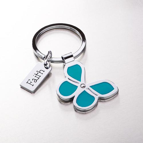 Butterfly Keyring with Faith Charm