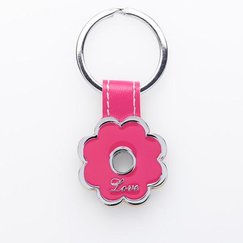 Love Pink Posy Metal Keyring