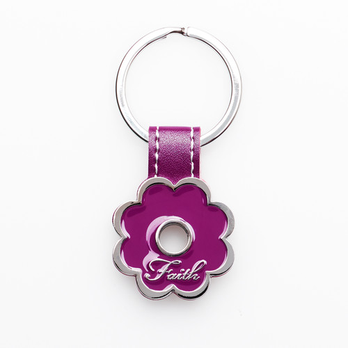 Faith Purple Posy Metal Keyring