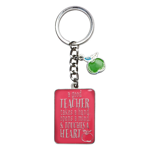 Blessings for a #1 Teacher in Pink - 1 Corinthians 16:14 Keyring in Tin