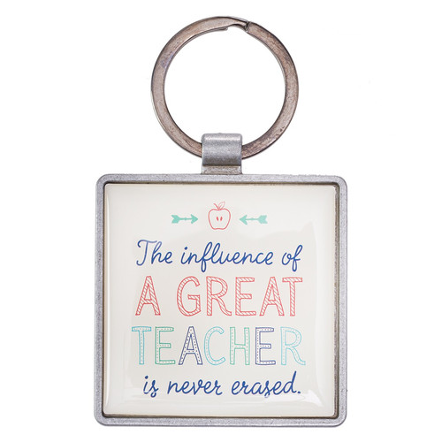 A Great Teacher Key Ring in Tin