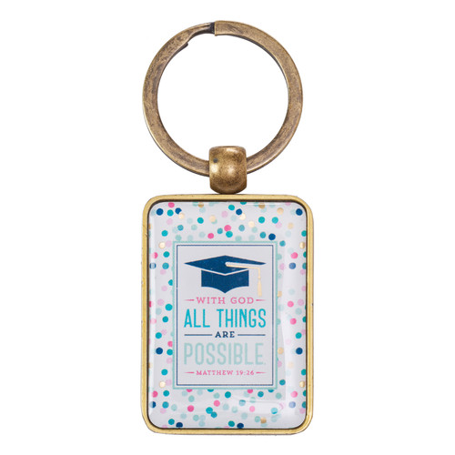 Graduation, All Things are Possible - Matthew 19:26 Keyring in Tin