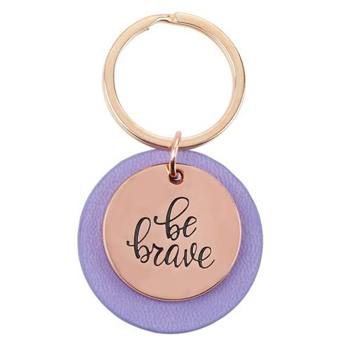 Be Brave Rose-gold Keyring with Lavender Disc