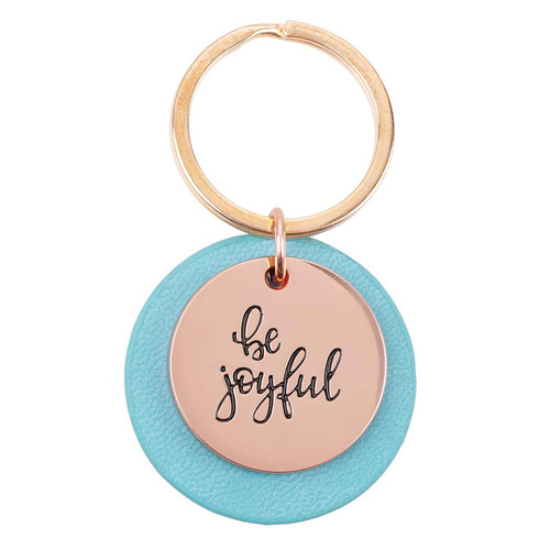 Be Joyful Rose Gold Keyring with Teal Disc