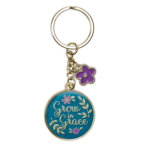 Grow in Grace Metal Keyring with Link Chain