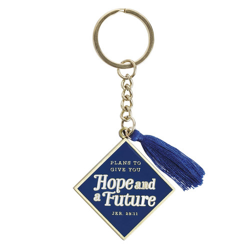Hope & a Future Navy Metal Graduation Keyring with Tassel in Gift Tin - Jeremiah 29:11
