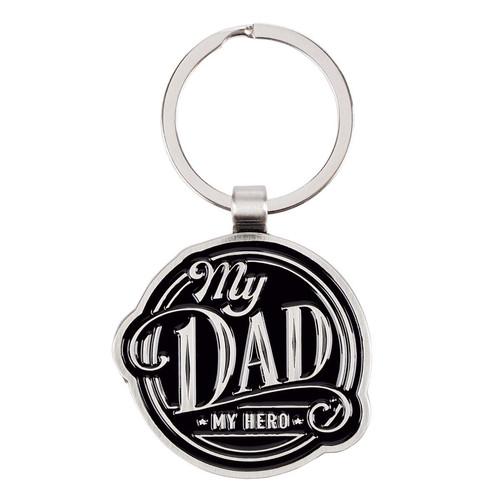 My Dad My Hero Black Metal Key Ring in Gift Tin