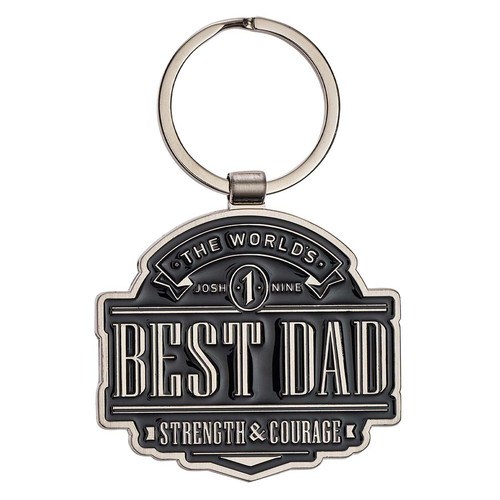 The World's Best Dad Metal Keyring in Gift Tin - Joshua 1:9