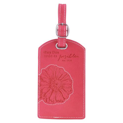 Etiqueta de equipaje símil cuero Mt. 19:26, rosado