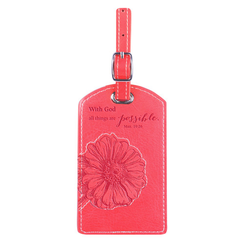 Pink All Things Are Possible Luggage Tag - Matthew 19:26