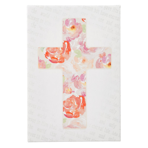 Floral Cross Watercolor Collection Magnet - John 3:16