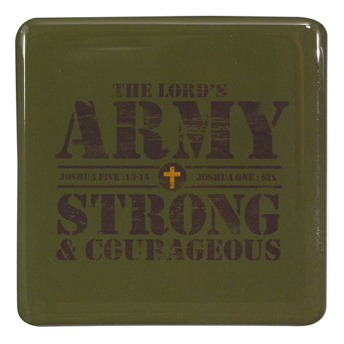 The Lords Army Magnet in Army Green - Joshua 1: 6