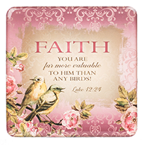 Faith Birds and Botany Magnet in Pink - Luke 12:24
