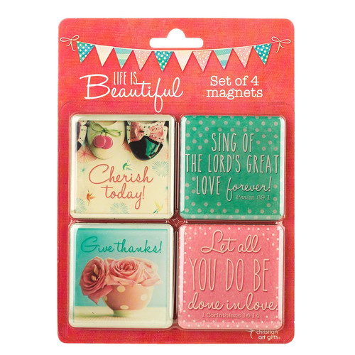 Retro Pink Life is Beautiful Inspirational Fridge Magnet Set (4)