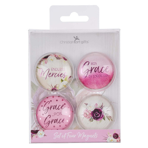 His Grace is Enough Glass Magnet Set - 2 Corinthians 12:9