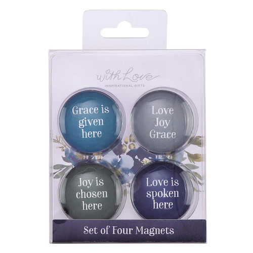 Love Joy Grace Glass Magnet Set