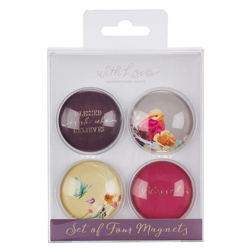 Blessed is She Glass Magnet Set