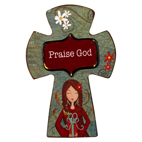 Praise God Wooden Cross Magnet