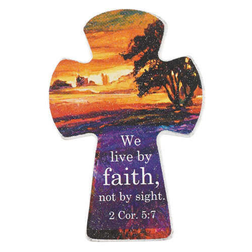 Live by Faith Small Cross Magnet - 2 Corinthians 5:7