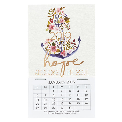 Hope Anchors the Soul - Hebrews 6:19 - 2019 Mini Magnetic Calendar