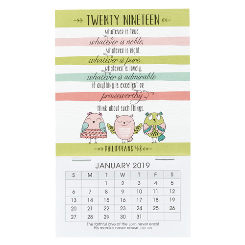 Think About Such Things - Philippians 4:8 - 2019 Mini Magnetic Calendar