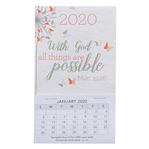 With God All Things are Possible Mini Magnetic Calendar for 2020