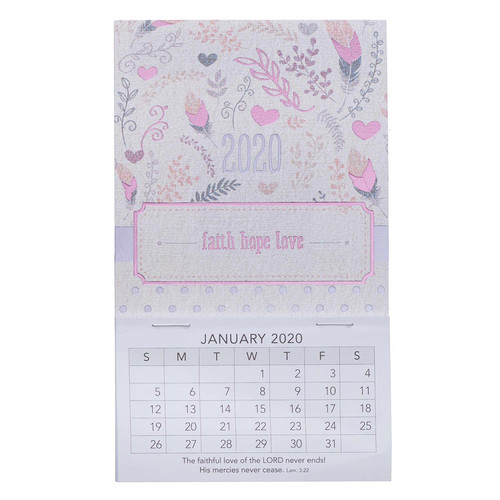 Faith Hope Love Mini Magnetic Calendar for 2020