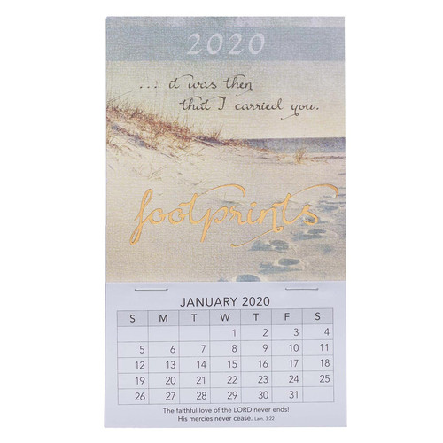 Footprints Mini Magnetic Calendar 2020