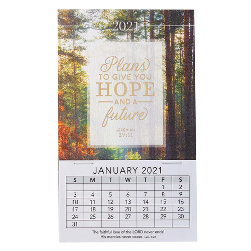 Plans To Give You A Hope And A Future 2021 Mini Magnetic Calendar - Jeremiah 29:11