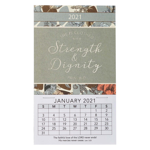 Strength & Dignity 2021 Mini Magnetic Calendar - Proverbs 31:25