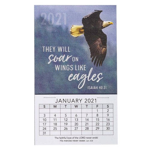 Soar On Wings Of Eagles 2021 Mini Magnetic Calendar - Isaiah 40:31