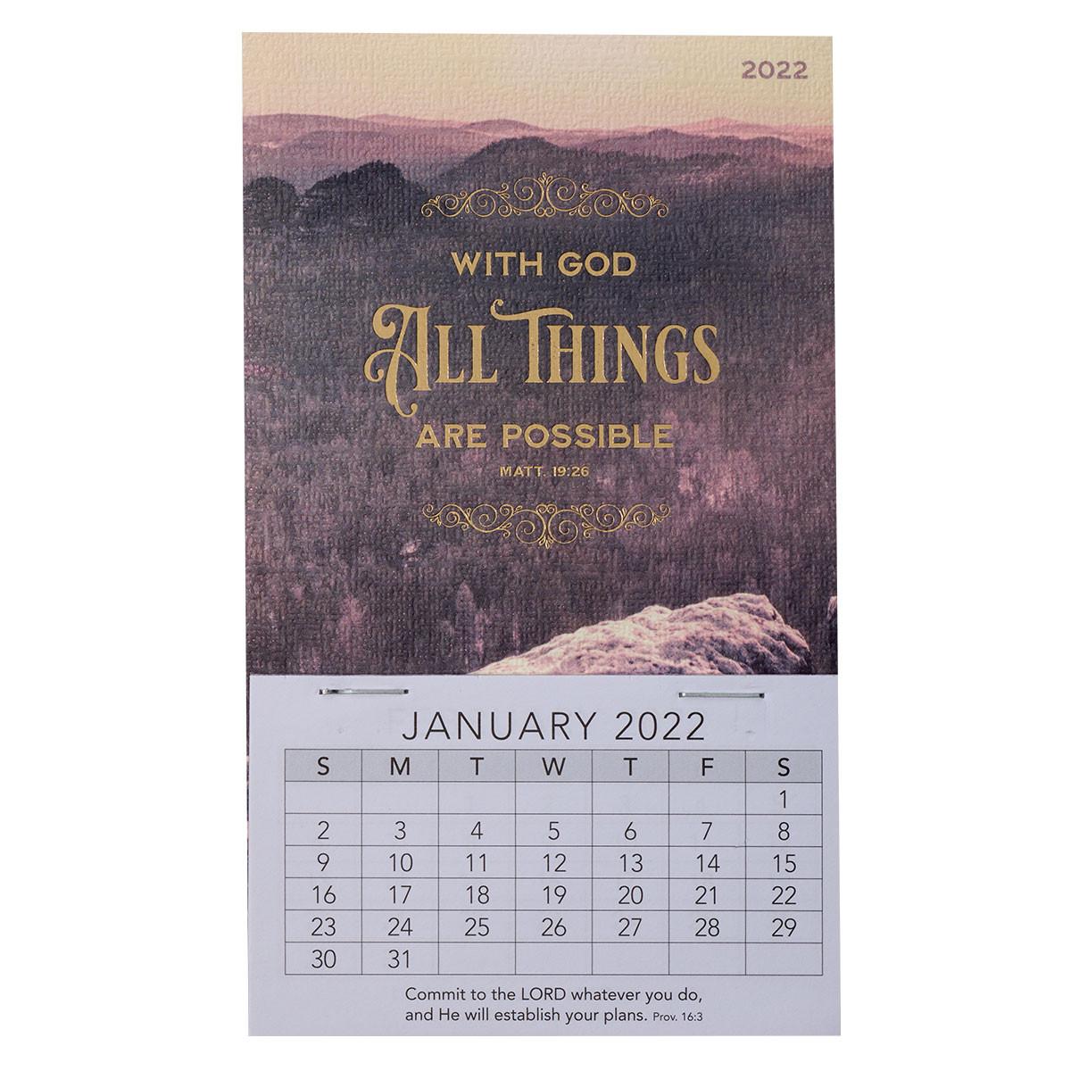 Mini 2022 Calendar.2022 All Things Are Possible Mini Magnetic Calendar