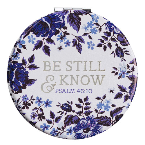 Be Still & Know Blue Floral Compact Mirror - Psalm 46:10