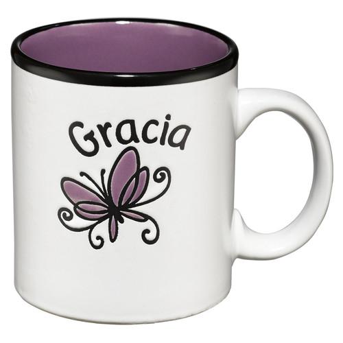 Taza Gracia blanca con interior púrpura