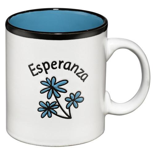 Taza Esperanza blanca con interior azul