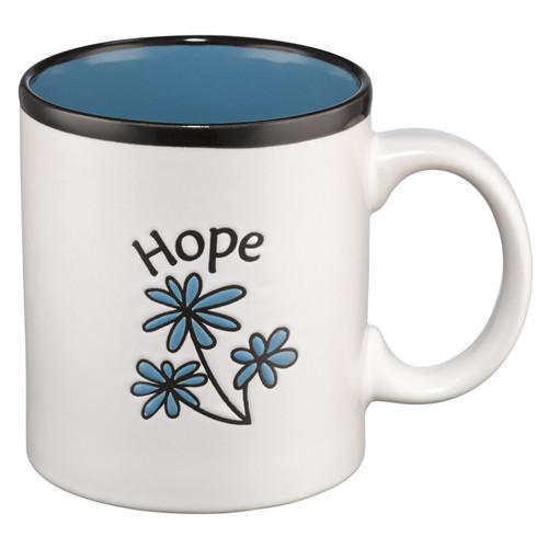 Hope on White with Blue Interior Lamentations 3:24 Coffee Mug